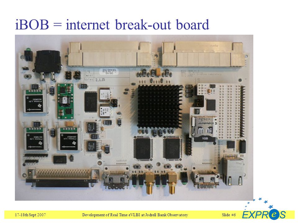17-18th Sept 2007Development of Real Time eVLBI at Jodrell Bank ObservatorySlide #7 iBOB FPGA Xilinx Virtex II Pro 2 PowerPCs 232 18x18 bit multipliers