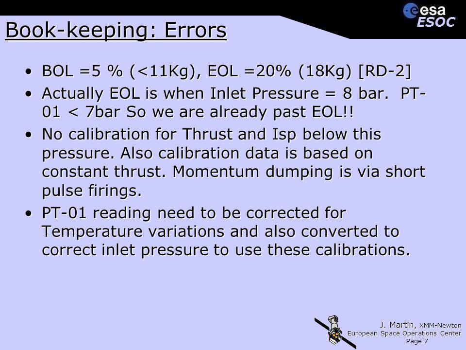 J. Martin, XMM-Newton European Space Operations Center Page 7 ESOCESOC Book-keeping: Errors BOL =5 % (<11Kg), EOL =20% (18Kg) [RD-2]BOL =5 % (<11Kg),