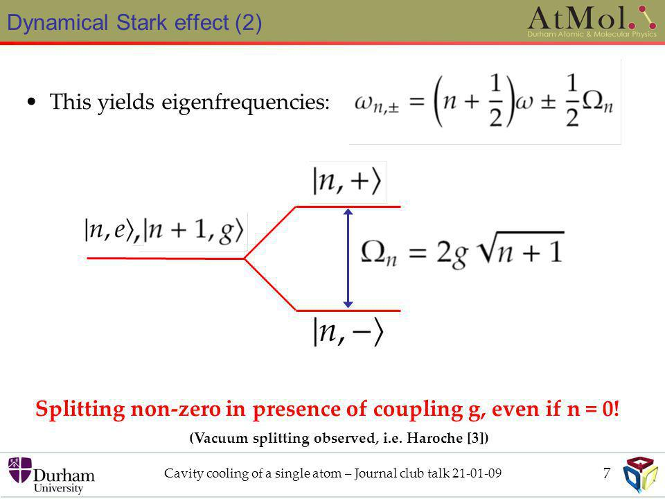 Dynamical Stark effect (2) Cavity cooling of a single atom – Journal club talk 21-01-09 This yields eigenfrequencies: Splitting non-zero in presence of coupling g, even if n = 0.