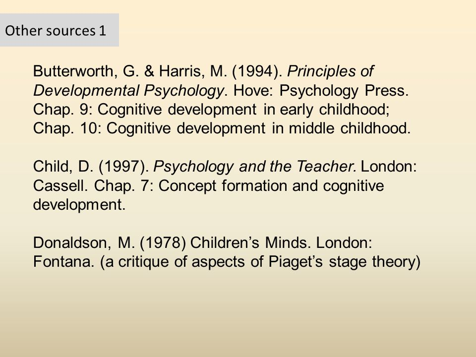Other sources 1 Butterworth, G.& Harris, M. (1994).