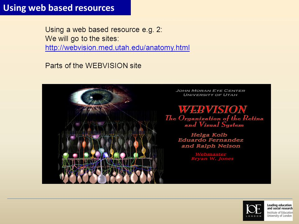 Using a web based resource e.g. 2: We will go to the sites: http://webvision.med.utah.edu/anatomy.html Parts of the WEBVISION site Using web based res