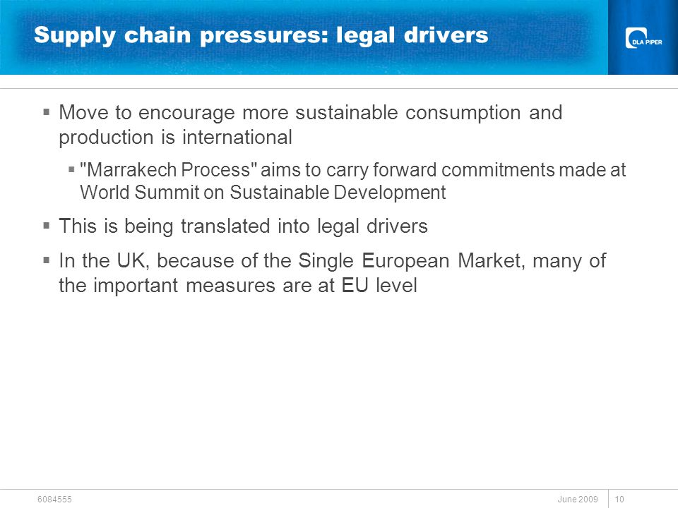 June 2009 6084555 10 Supply chain pressures: legal drivers  Move to encourage more sustainable consumption and production is international  Marrakech Process aims to carry forward commitments made at World Summit on Sustainable Development  This is being translated into legal drivers  In the UK, because of the Single European Market, many of the important measures are at EU level