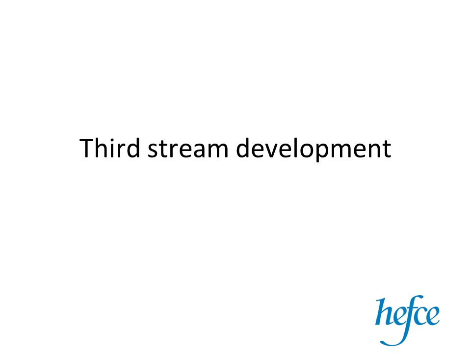 Third stream – a definition 'trend among many universities toward a third function, which has been described using a range of terms such as knowledge transfer, community service, community engagement and the third stream.' –'Third Stream is about the interactions between universities and the rest of society.' (SPRU, 2002)'