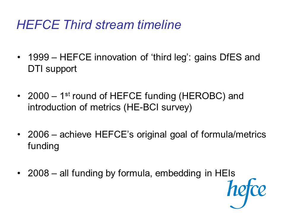 HEFCE Third stream timeline 1999 – HEFCE innovation of 'third leg': gains DfES and DTI support 2000 – 1 st round of HEFCE funding (HEROBC) and introduction of metrics (HE-BCI survey) 2006 – achieve HEFCE's original goal of formula/metrics funding 2008 – all funding by formula, embedding in HEIs