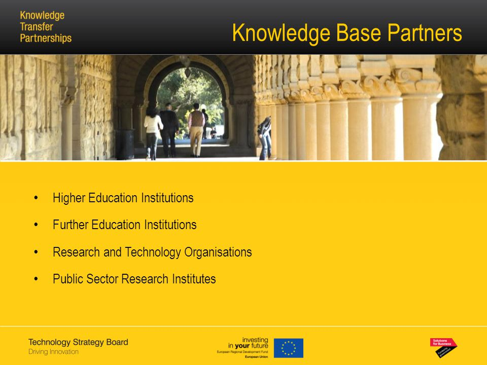 Knowledge Base Partners Higher Education Institutions Further Education Institutions Research and Technology Organisations Public Sector Research Institutes
