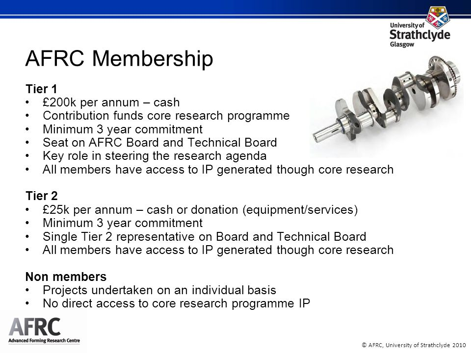 © AFRC, University of Strathclyde 2010 AFRC Membership Tier 1 £200k per annum – cash Contribution funds core research programme Minimum 3 year commitment Seat on AFRC Board and Technical Board Key role in steering the research agenda All members have access to IP generated though core research Tier 2 £25k per annum – cash or donation (equipment/services) Minimum 3 year commitment Single Tier 2 representative on Board and Technical Board All members have access to IP generated though core research Non members Projects undertaken on an individual basis No direct access to core research programme IP