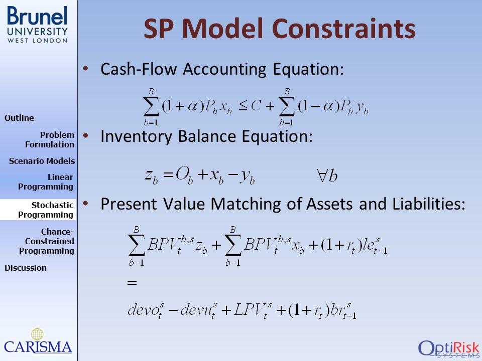 Outline Discussion Problem Formulation Scenario Models Stochastic Programming Linear Programming Chance- Constrained Programming SP Model Constraints