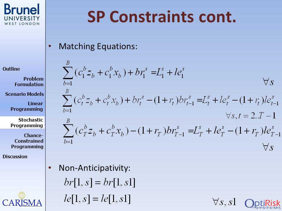 Outline Discussion Problem Formulation Scenario Models Stochastic Programming Linear Programming Chance- Constrained Programming SP Constraints cont.