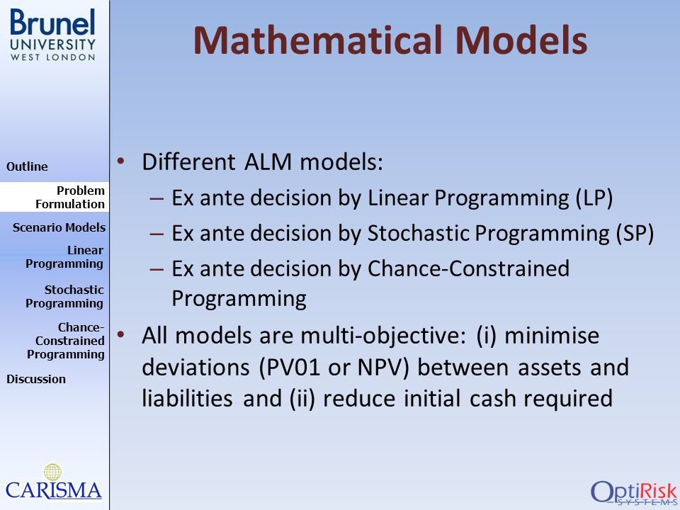 Outline Discussion Problem Formulation Scenario Models Stochastic Programming Linear Programming Chance- Constrained Programming Mathematical Models D