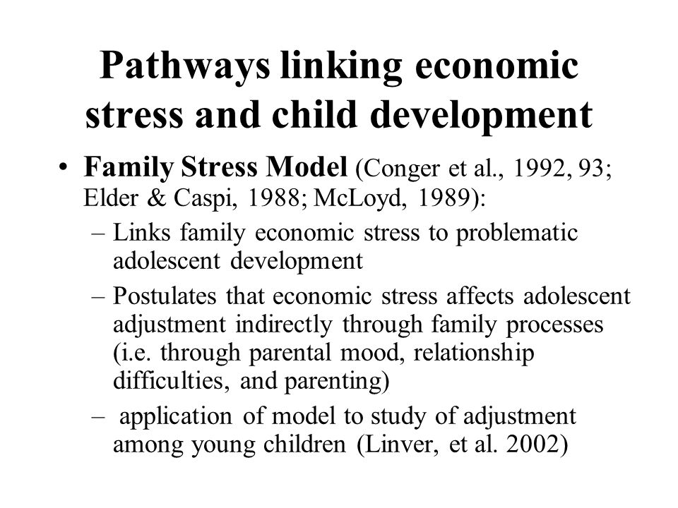 The Family Stress Model Behavioural adjustment age 3 years Time weighted Hardship score Mother's Depression Mother child relationship Behaviour Model Fit: (adjusted model including control variables and sample weights): CFI=.978; rmsea=.082) Control Battery.27 -.37.57 -.15 R 2 =.45