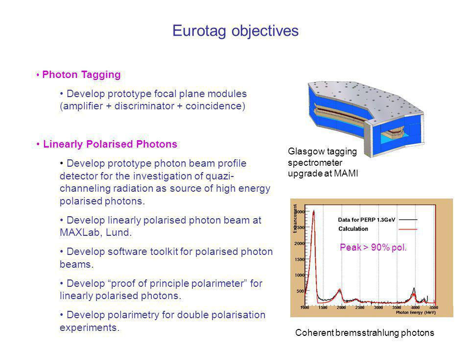 Eurotag objectives Photon Tagging Develop prototype focal plane modules (amplifier + discriminator + coincidence)‏ Linearly Polarised Photons Develop prototype photon beam profile detector for the investigation of quazi- channeling radiation as source of high energy polarised photons.