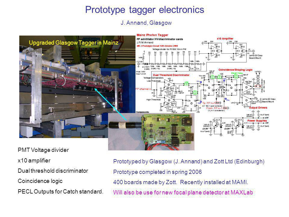 Prototype tagger electronics J. Annand, Glasgow PMT Voltage divider x10 amplifier Dual threshold discriminator Coincidence logic PECL Outputs for Catc