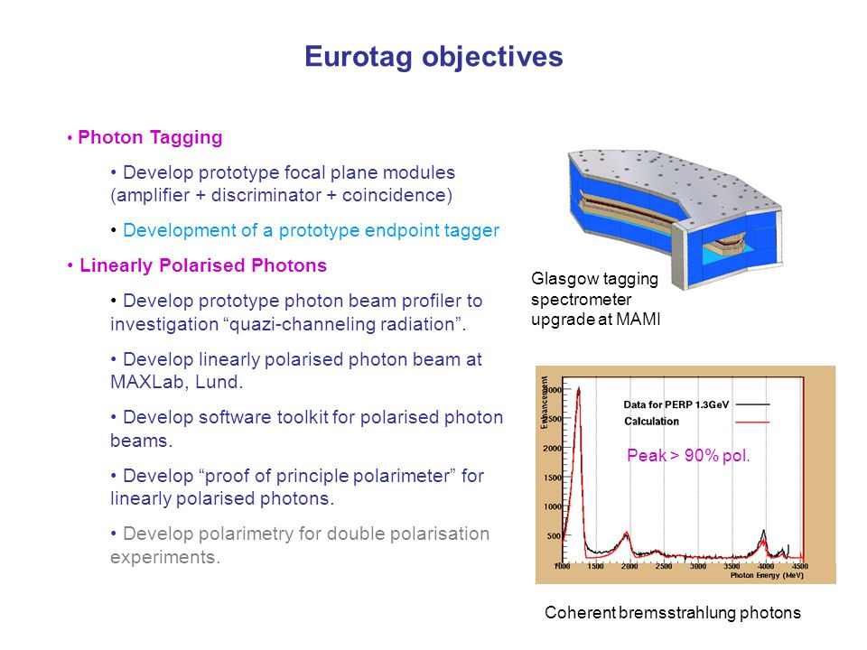 Eurotag objectives Photon Tagging Develop prototype focal plane modules (amplifier + discriminator + coincidence)‏ Development of a prototype endpoint tagger Linearly Polarised Photons Develop prototype photon beam profiler to investigation quazi-channeling radiation .