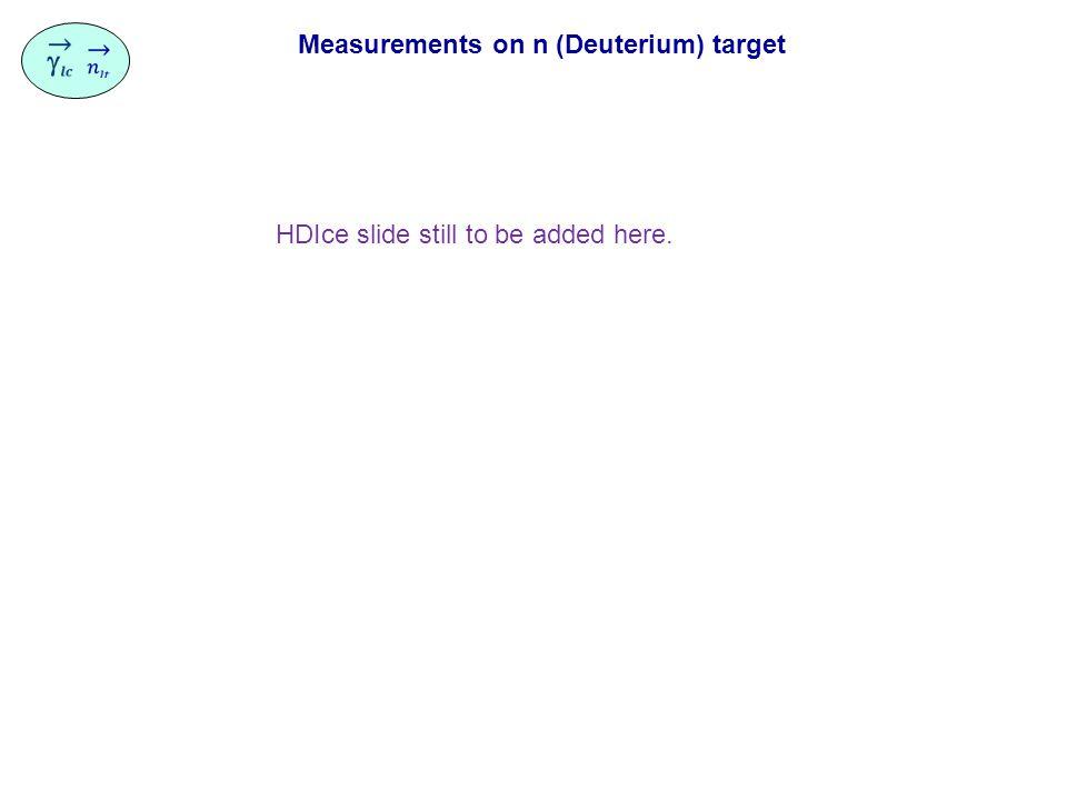 Measurements on n (Deuterium) target HDIce slide still to be added here.