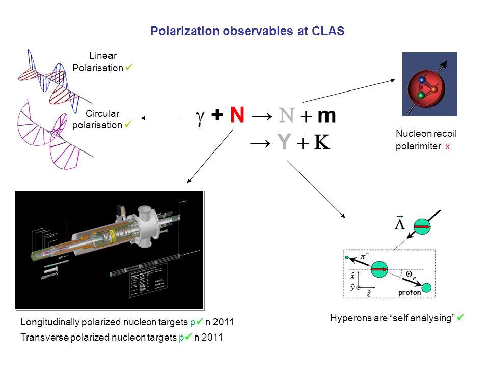 Polarization observables at CLAS  + N →  m Linear Polarisation Circular polarisation Nucleon recoil polarimiter x → Y  Hyperons are self analysing Transverse polarized nucleon targets p n 2011 Longitudinally polarized nucleon targets p n 2011