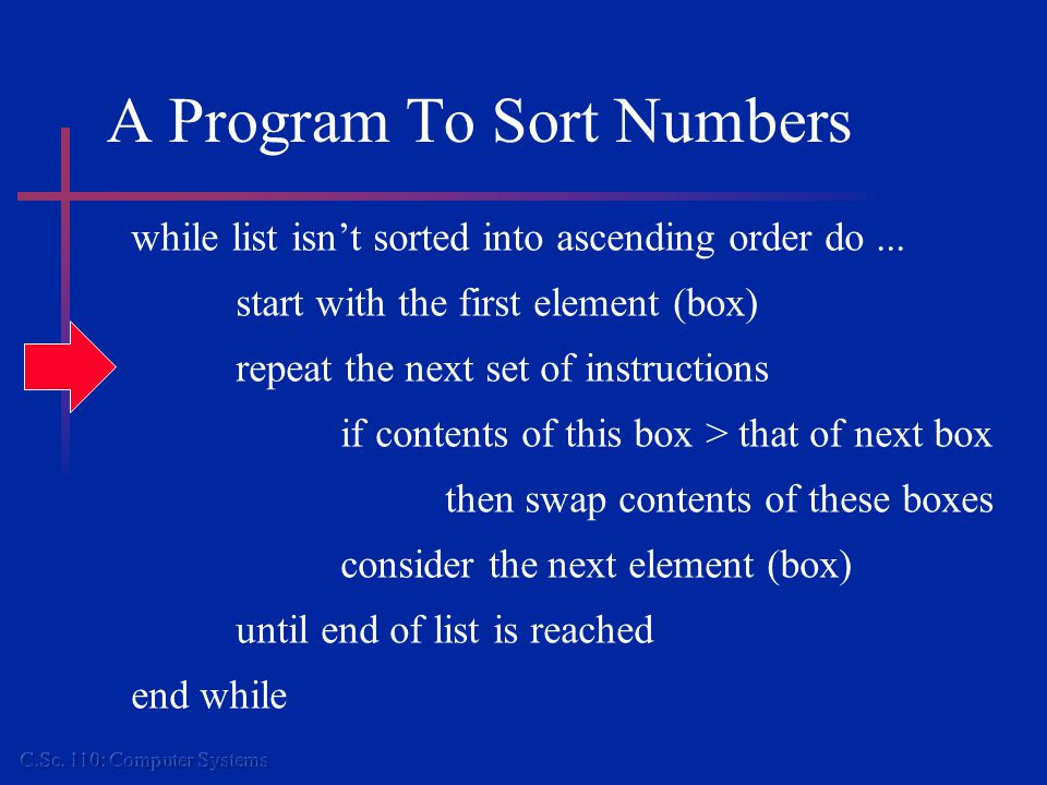 A Program To Sort Numbers while list isn't sorted into ascending order do...