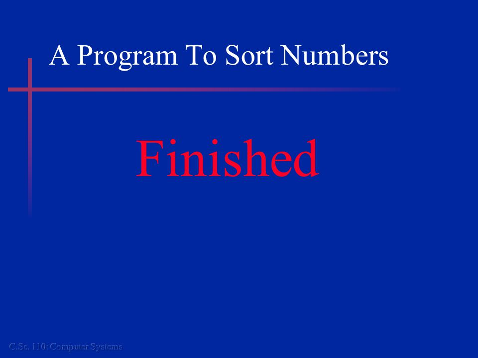 A Program To Sort Numbers Finished