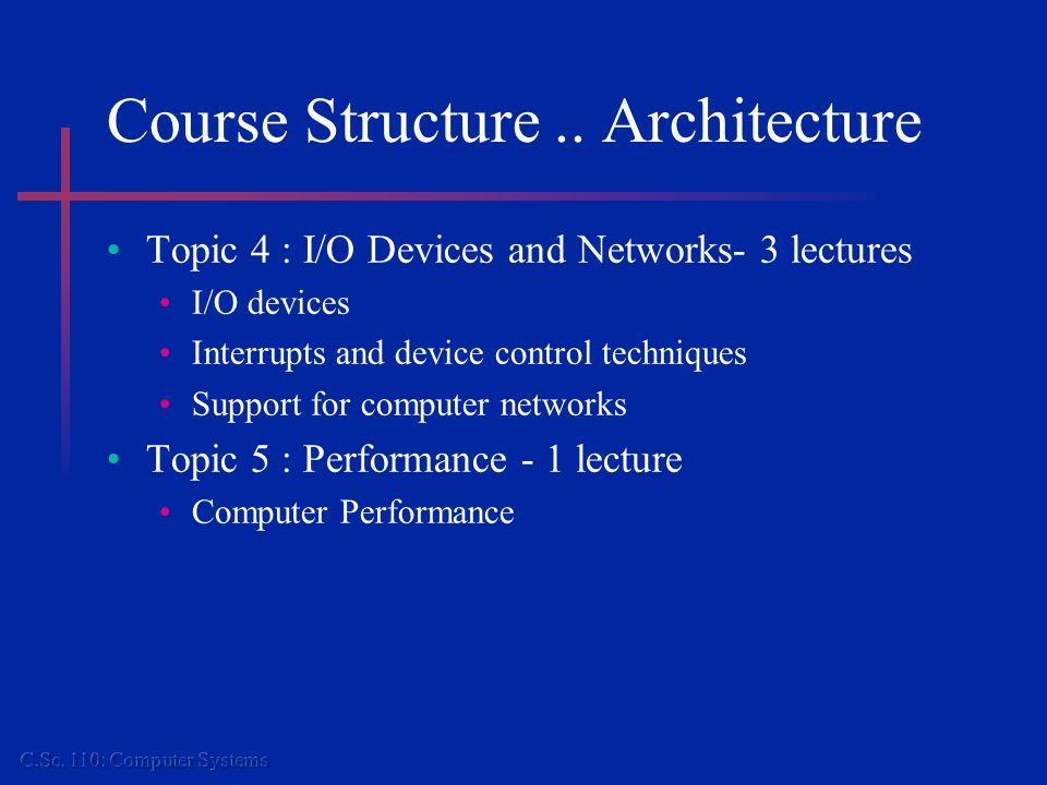 Course Structure.. Architecture Topic 4 : I/O Devices and Networks- 3 lectures I/O devices Interrupts and device control techniques Support for comput