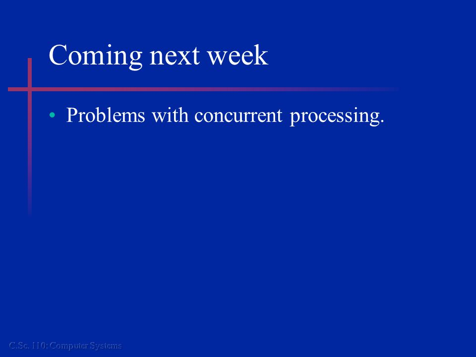 Coming next week Problems with concurrent processing.