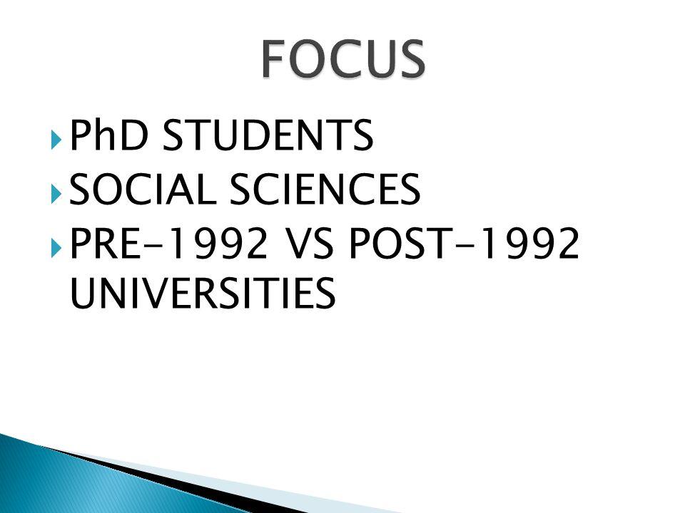  PhD STUDENTS  SOCIAL SCIENCES  PRE-1992 VS POST-1992 UNIVERSITIES