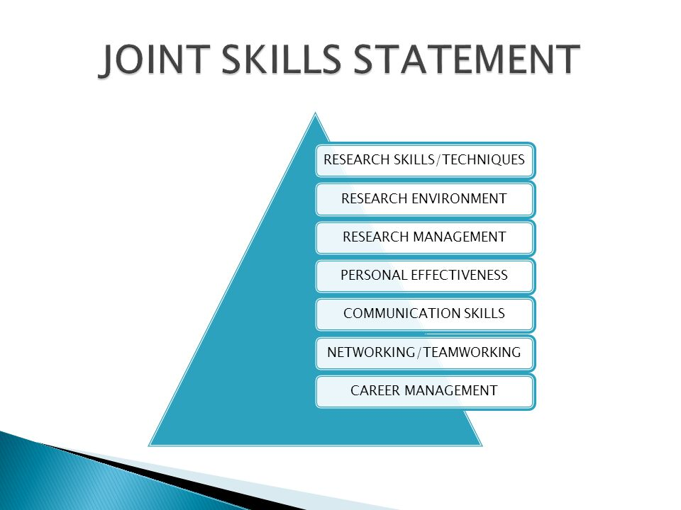 RESEARCH SKILLS/TECHNIQUESRESEARCH ENVIRONMENTRESEARCH MANAGEMENTPERSONAL EFFECTIVENESSCOMMUNICATION SKILLSNETWORKING/TEAMWORKINGCAREER MANAGEMENT