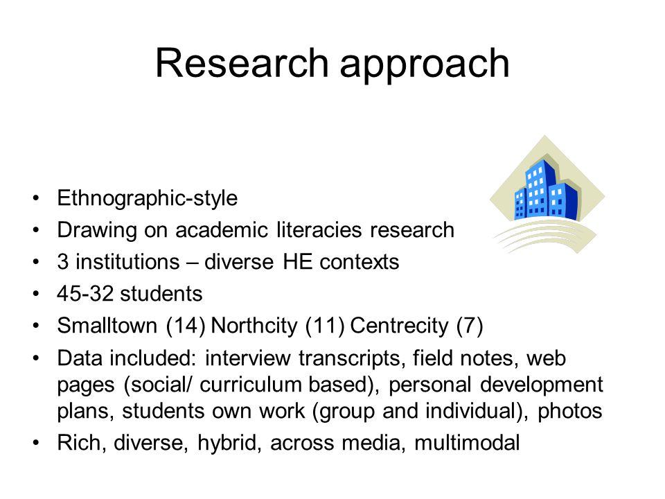 Research approach Ethnographic-style Drawing on academic literacies research 3 institutions – diverse HE contexts 45-32 students Smalltown (14) Northc