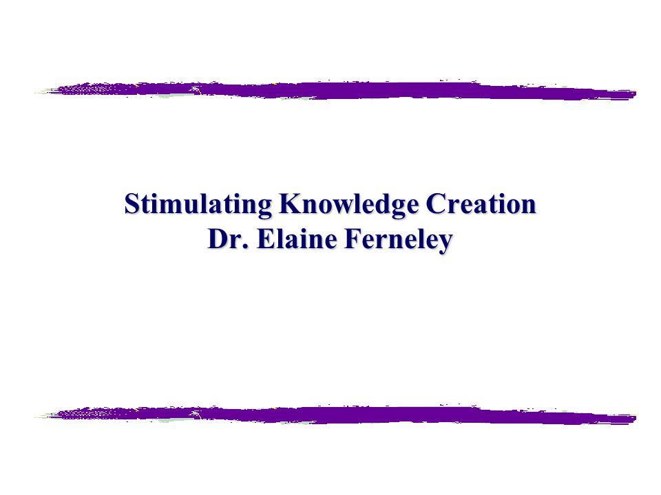 Stimulating Knowledge Creation Dr. Elaine Ferneley