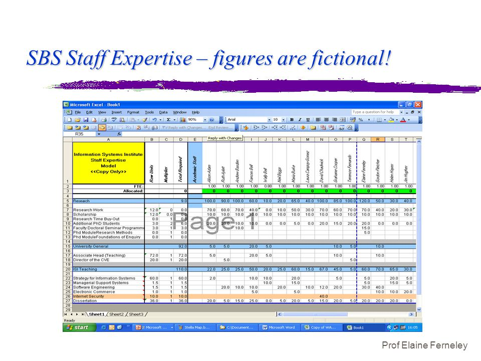 Prof Elaine Ferneley SBS Staff Expertise – figures are fictional!