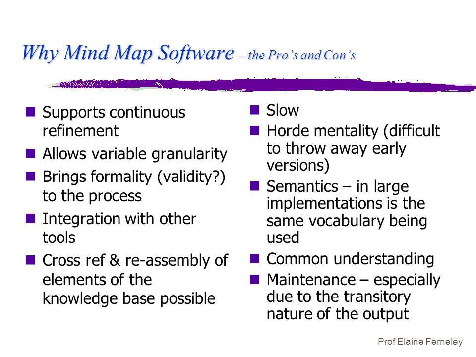 Prof Elaine Ferneley Why Mind Map Software – the Pro's and Con's nSupports continuous refinement nAllows variable granularity nBrings formality (valid