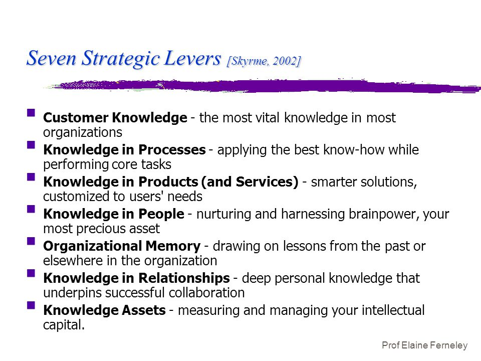 Prof Elaine Ferneley Seven Strategic Levers [Skyrme, 2002]  Customer Knowledge - the most vital knowledge in most organizations  Knowledge in Proces