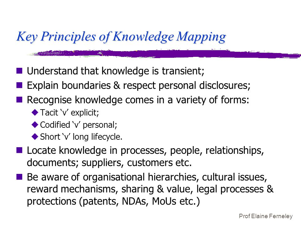 Prof Elaine Ferneley Key Principles of Knowledge Mapping nUnderstand that knowledge is transient; nExplain boundaries & respect personal disclosures;