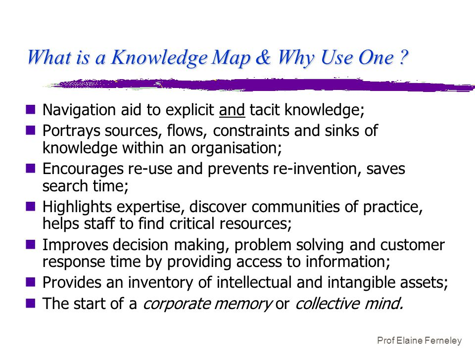 Prof Elaine Ferneley What is a Knowledge Map & Why Use One ? nNavigation aid to explicit and tacit knowledge; nPortrays sources, flows, constraints an