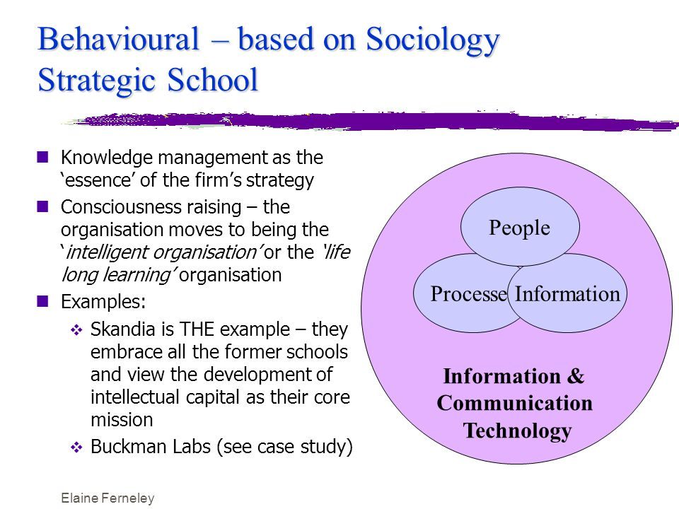 Elaine Ferneley Behavioural – based on Sociology Strategic School nKnowledge management as the 'essence' of the firm's strategy nConsciousness raising – the organisation moves to being the 'intelligent organisation' or the 'life long learning' organisation nExamples:  Skandia is THE example – they embrace all the former schools and view the development of intellectual capital as their core mission  Buckman Labs (see case study) Information & Communication Technology ProcessesInformation People
