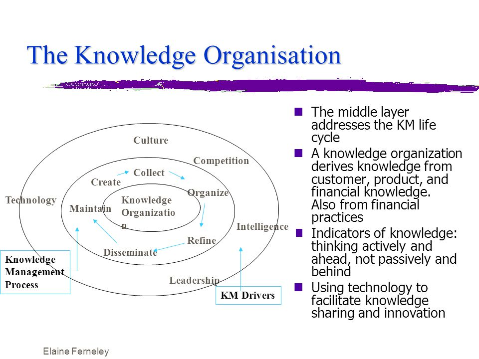 Elaine Ferneley The Knowledge Organisation nThe middle layer addresses the KM life cycle nA knowledge organization derives knowledge from customer, product, and financial knowledge.