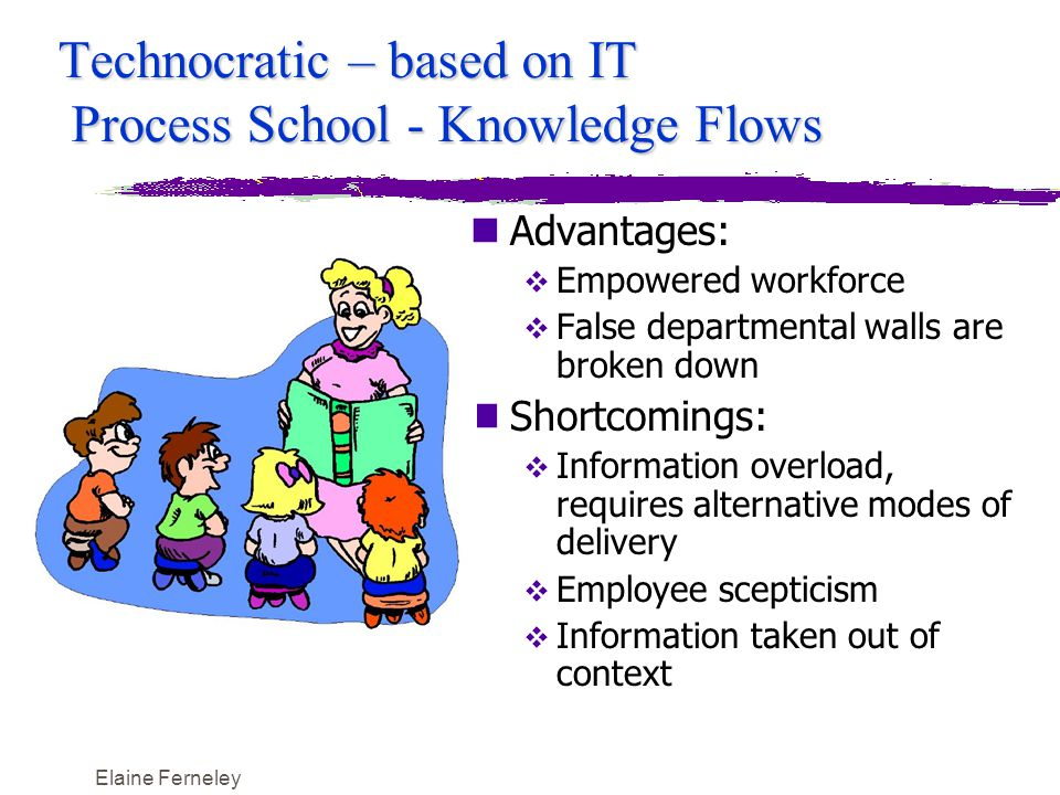 Elaine Ferneley Technocratic – based on IT Process School - Knowledge Flows nAdvantages:  Empowered workforce  False departmental walls are broken down nShortcomings:  Information overload, requires alternative modes of delivery  Employee scepticism  Information taken out of context