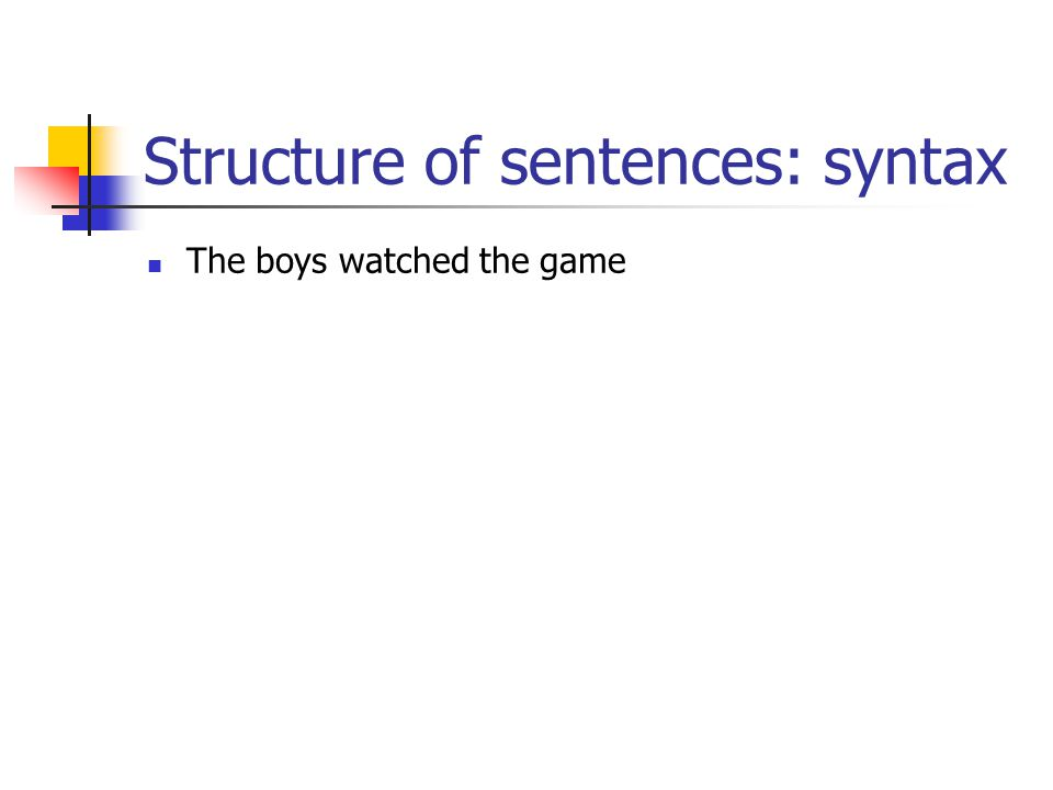 Structure of sentences: syntax The boys watched the game