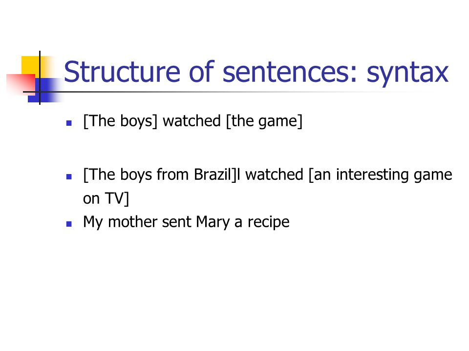Structure of sentences: syntax [The boys] watched [the game] [The boys from Brazil]l watched [an interesting game on TV] My mother sent Mary a recipe