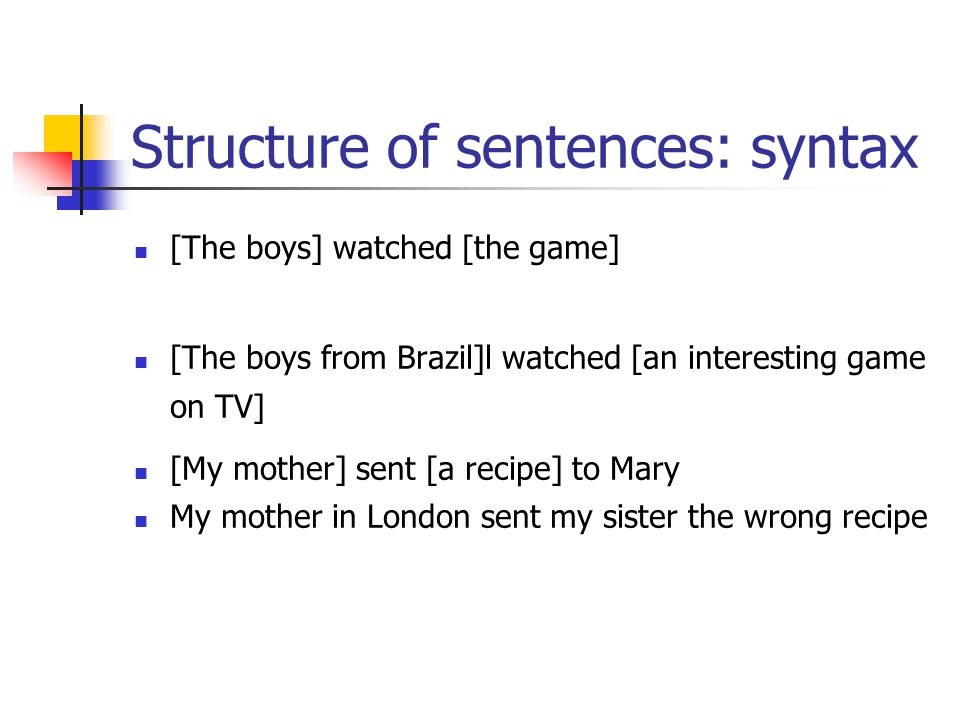 Structure of sentences: syntax [The boys] watched [the game] [The boys from Brazil]l watched [an interesting game on TV] [My mother] sent [a recipe] to Mary My mother in London sent my sister the wrong recipe