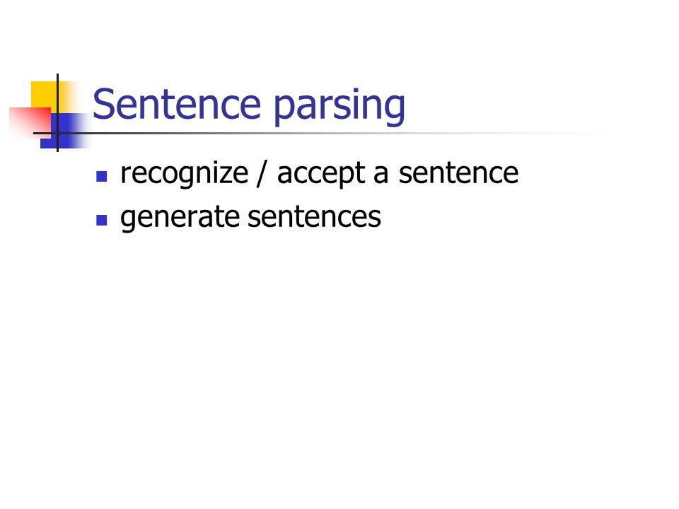 Sentence parsing recognize / accept a sentence generate sentences