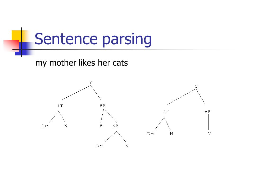 Sentence parsing my mother likes her cats