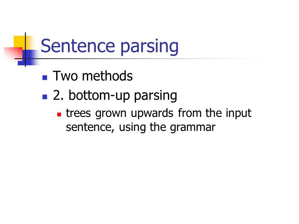 Sentence parsing Two methods 2.