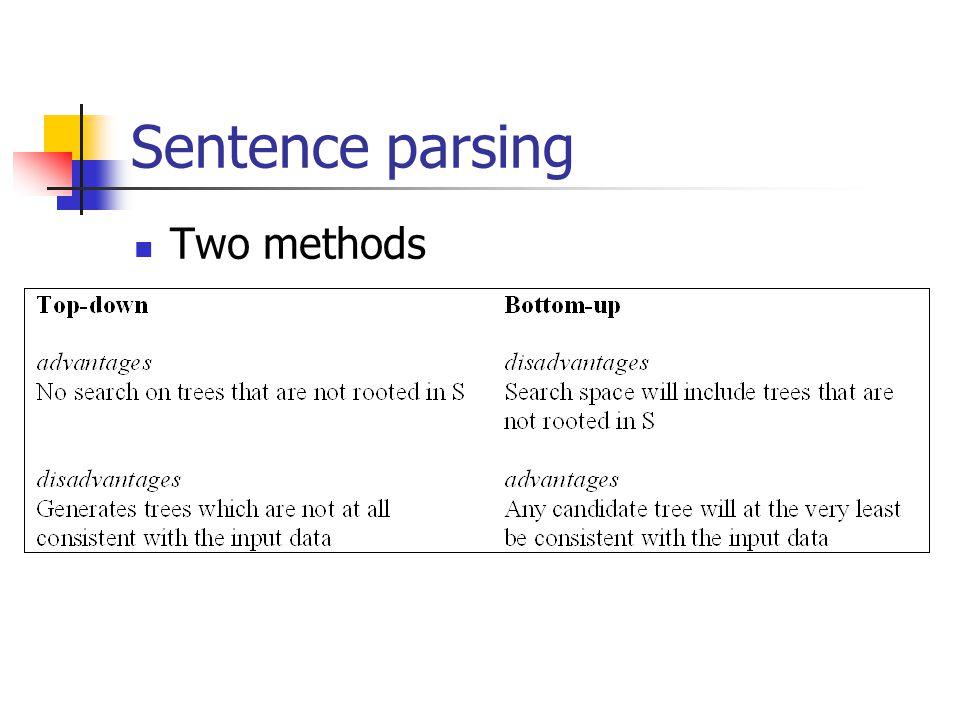 Sentence parsing Two methods