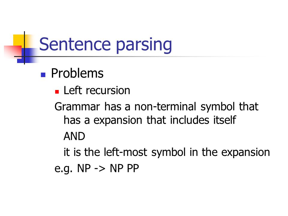 Sentence parsing Problems Left recursion Grammar has a non-terminal symbol that has a expansion that includes itself AND it is the left-most symbol in the expansion e.g.