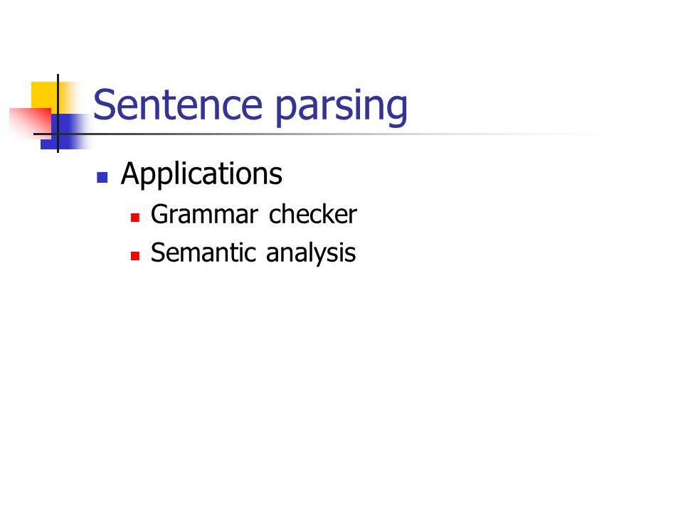 Sentence parsing Applications Grammar checker Semantic analysis