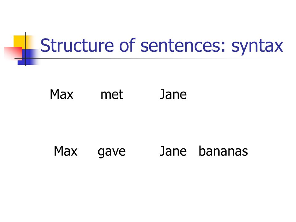 Structure of sentences: syntax MaxmetJane Max gave Jane bananas