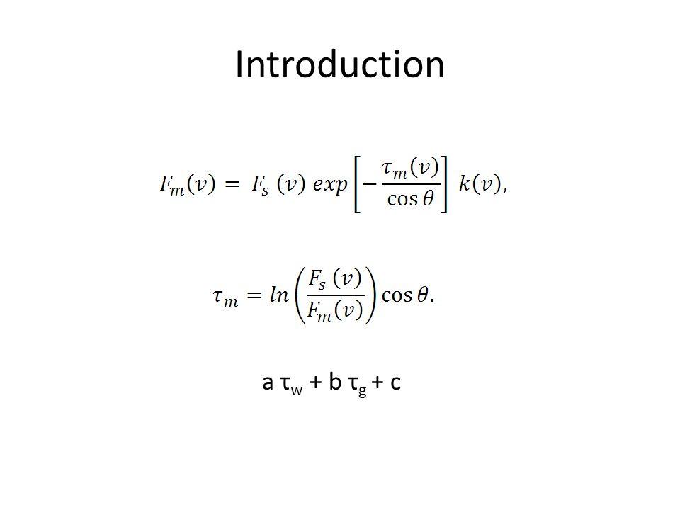 a τ w + b τ g + c