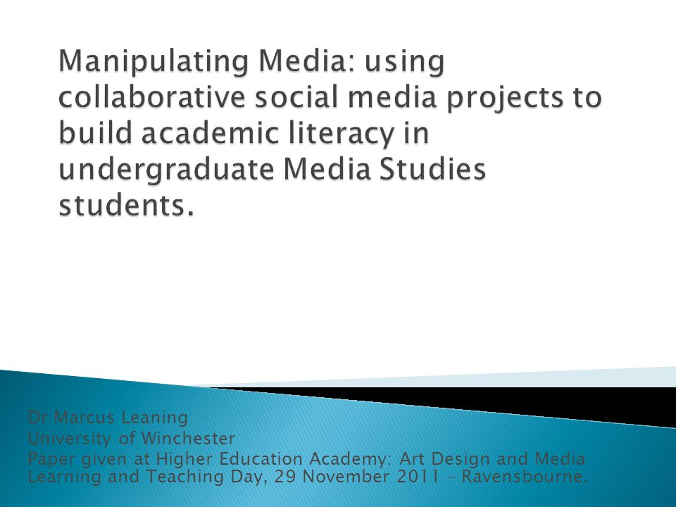  Report on a new module run last year for the first time in the Media Studies programme at Winchester.