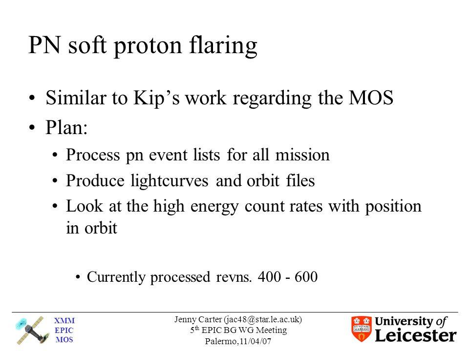 XMM EPIC MOS Jenny Carter (jac48@star.le.ac.uk) 5 th EPIC BG WG Meeting Palermo,11/04/07 PN soft proton flaring Similar to Kip's work regarding the MO