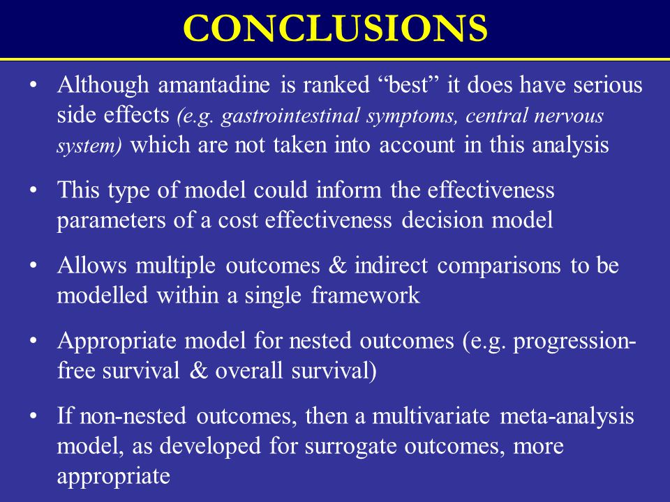 CONCLUSIONS Although amantadine is ranked best it does have serious side effects (e.g.