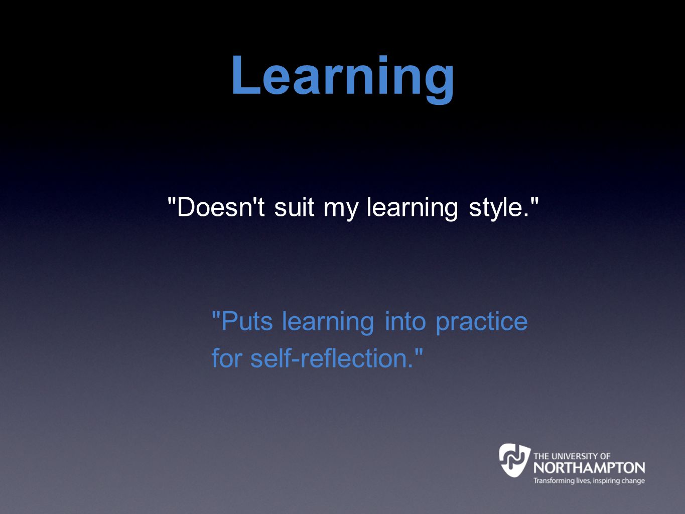 Doesn t suit my learning style. Puts learning into practice for self-reflection. Learning